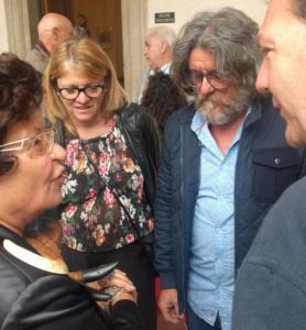 """Patrizia Pacini con Massimo Facheris, autore del premio """"Mondo Cinema 2018"""""""
